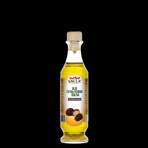 Extra virgin olive oil seasoning with black summer truffle